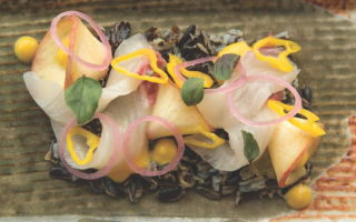 Sashimi with peach purée and wild rice.