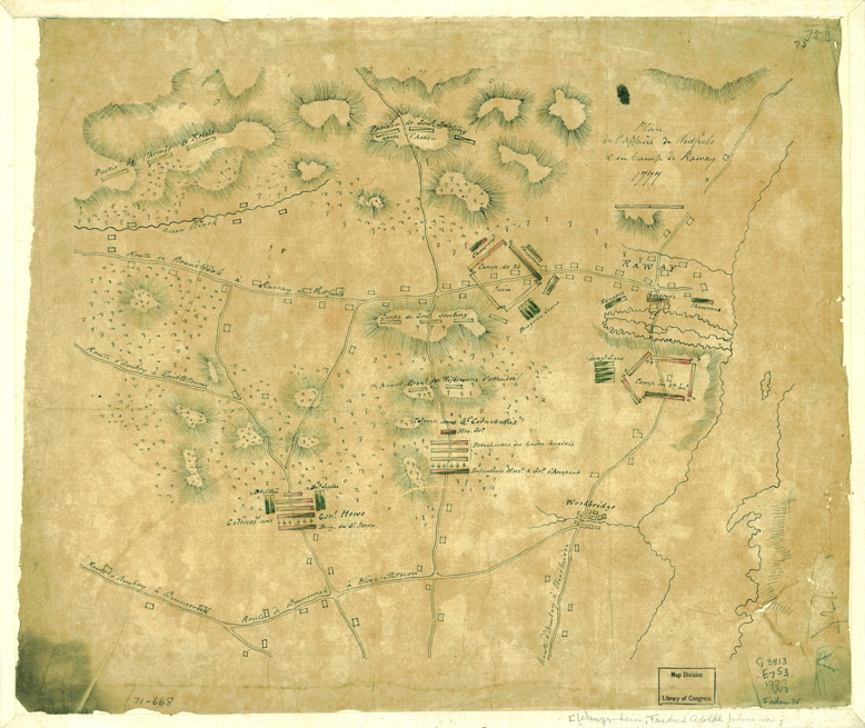 A contemporary Hessian map depicting the positions in the Battle of Short Hills. Photo courtesy of the Library of Congress.
