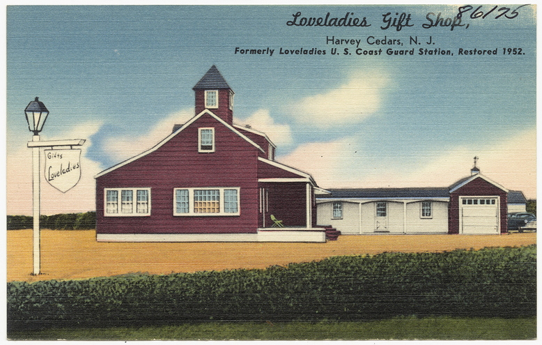 The Loveladies Gift Shop, formerly Loveladies U.S. Coast Guard Station No. 114, circa 1952. Courtesy of Flickr Creative Commons: Boston Public Library.