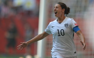 Carli Lloyd celebrates her third goal as the USWNT go up 4-1 over Japan to begin the second half in the 2015 FIFA Women's World Cup Final at BC Place.