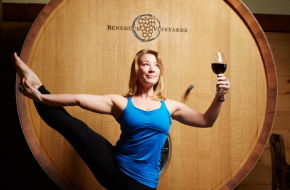 Jamie Taylor limbers up in the tasting room at Beneduce Vineyards.
