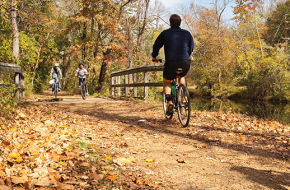 Bicyclists enjoy the picturesque (and flat) D&R Canal State Park towpath.
