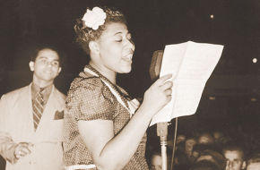 Ella Fitzgerald at the Asbury Park Casino in 1938 with bandleader Chick Webb.