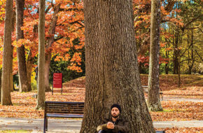 A student at the New Jersey Center for Mindful Awareness meditates on the Ramapo campus.