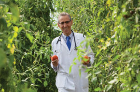 Dr. Ron Weiss grows tomatoes and other produce free of synthetic chemicals at Ethos Primary Care. He sees a whole-foods, plant-based diet as essential to improved health.