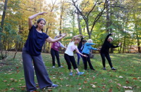 Instructor Miriam Shankman, left, leads a group of Cedar Grove women in a qigong class. Front row, from left: Joyce Fizgerald, Dolores Alu and Angela Buccino. Back row: Nora Panaia and Martha L. Mendoza.
