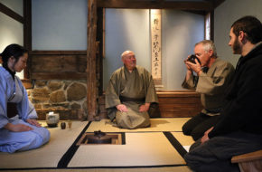 Drew Hanson, center, leads a Japanese tea ceremony–or chado–at Boukakuan in Columbus. Joining the ceremony, from left, are students Shoko Kato, who prepared the tea; Dave Ryan from Ocean View, Delaware; and Paul Resnick from Elkins Park, Pennsylvannia.