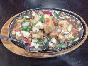 Tofu with shrimp and salt fish at Coco Malaysian and Thai restaurant in Edison, New Jersey