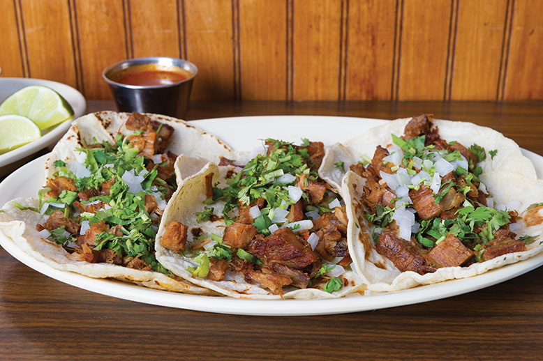 Pancho's Taqueria's now famous tacos include suadero (skirt steak).