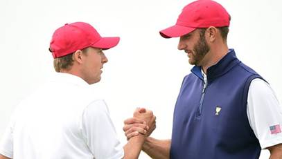 Jordan Spieth, left, and Dustin Johnson headline the U.S. team in the Presidents Cup tournament at Liberty National Golf Club in Jersey City.