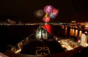 Aboard Battleship New Jersey, families can view the New Year's Eve fireworks show on the Delaware.