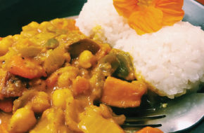 Coconut-curried vegetables with coconut rice.