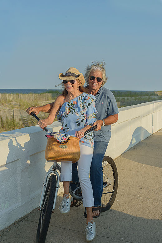 Biking is a favorite Shore activity for Mary and Dickie Palazzo.