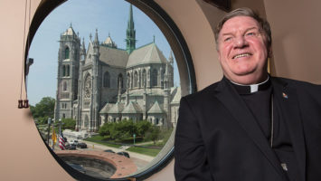 A window in Cardinal Joseph Tobin's Newark office offers a view across the street at the Cathedral Basilica of the Sacred Heart.