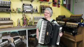 "Joanna Darrow has picked up where her late husband left off, teaching their favorite instrument at Acme Accordion School. ""It breathes,"" she says of the once-trendy squeezebox."