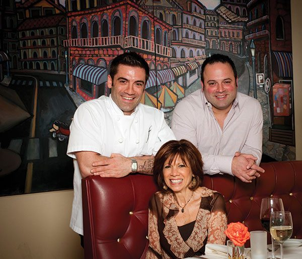 Chef Ryan DePersio, left, his older brother, Anthony, and their mom, pastry chef Cynthia DePersio, at Fascino in Montclair. Photo: Erik Rank