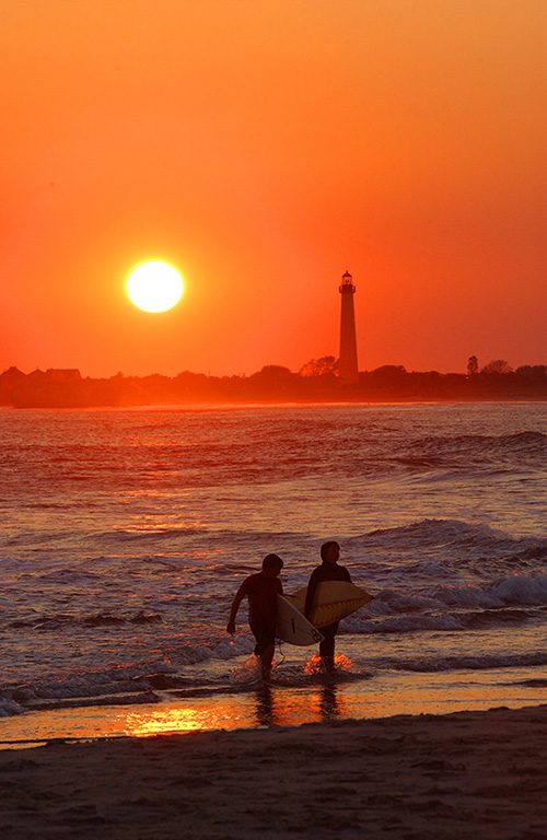 Cape May Lighthouse And Beach At Sunset