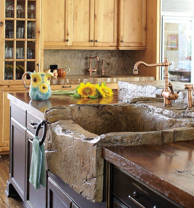 concrete thinking a surprising material brings a dream kitchen to life rh njmonthly com Rustic Stone Bathtubs Apron Sink Rustic
