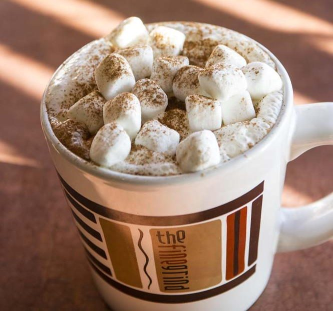 Erica's Hot Choffee (coffee with hot chocolate, whipped cream, cocoa powder and marshmallows) from The Fine Grind in Little Falls.