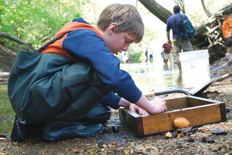Matt Litton searches for fossils.