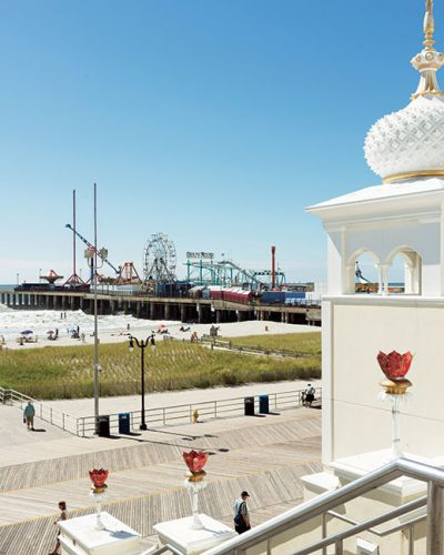 The sweeping view from the steps of the Taj Mahal casino in Atlantic City.
