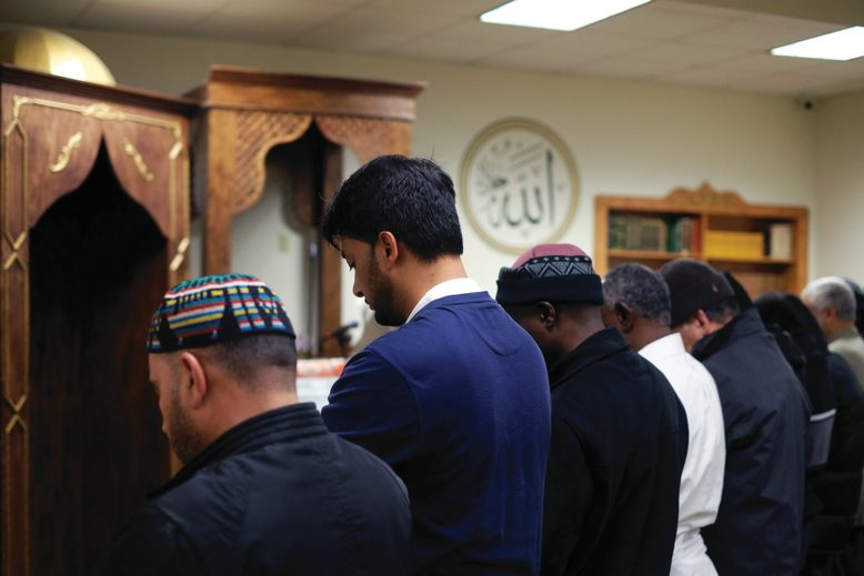 Muslims at prayer in Jersey City; Donald Trump startled many with his baseless claim that Muslims in Jersey City cheered as the Twin Towers fell.