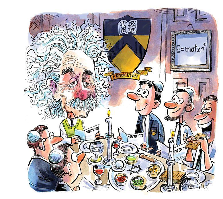 In 1944, scientist Albert Einstein joined Princeton University students during a Passover Seder.