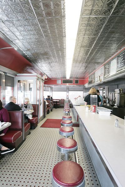 Part of the scene at Rowan University in Glassboro, Angelo's was built by the Kullman Dining Car Company in the early 1950s. The intimate eatery, with its distinctive exterior awnings and oval neon sign, earns raves for its breakfasts and homestyle dinners.