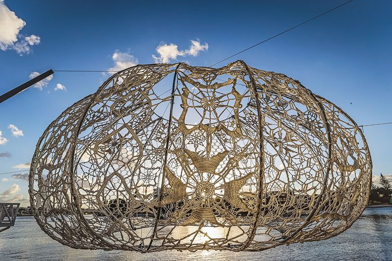 Works in the Hunterdon Art Museum's contemporary lace exhibit include one of three 18-foot wide Urchins by Jin Choi and Thomas Shine.