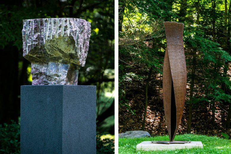 Sculptures at the Laurelwood Arboretum.